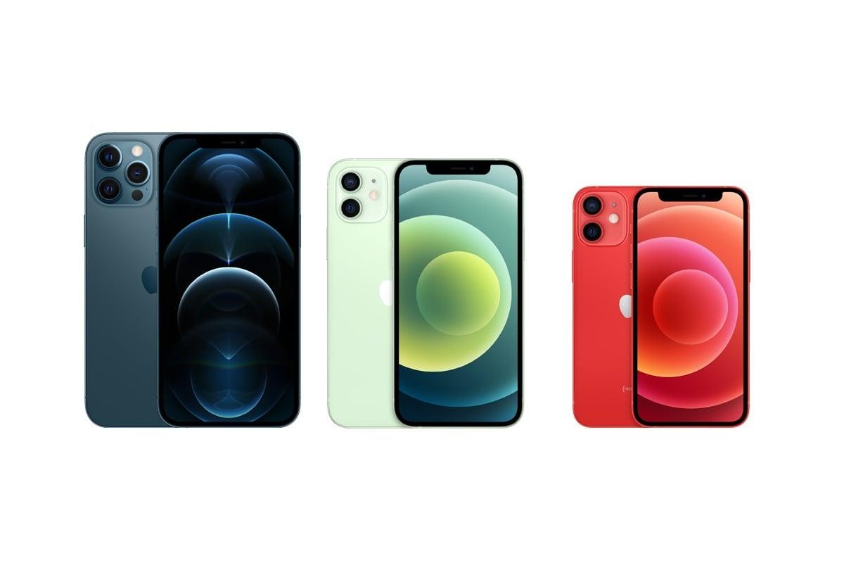 Apple iPhone 12 Pro Max, Apple iPhone 12 a Apple iPhone 12 mini