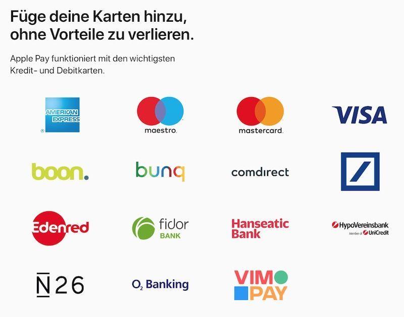 Apple Pay Německo seznam