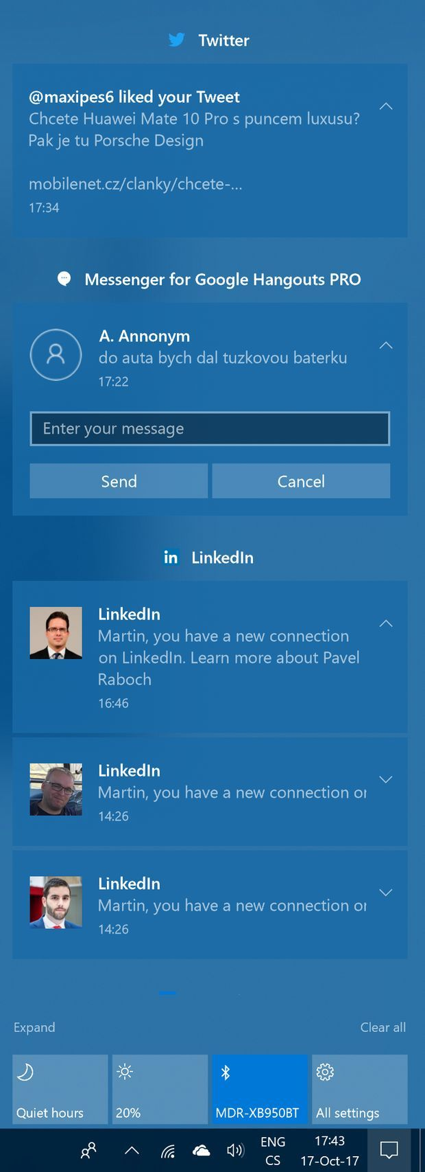 Centrum akcí ve Windows 10 Fall Creators update