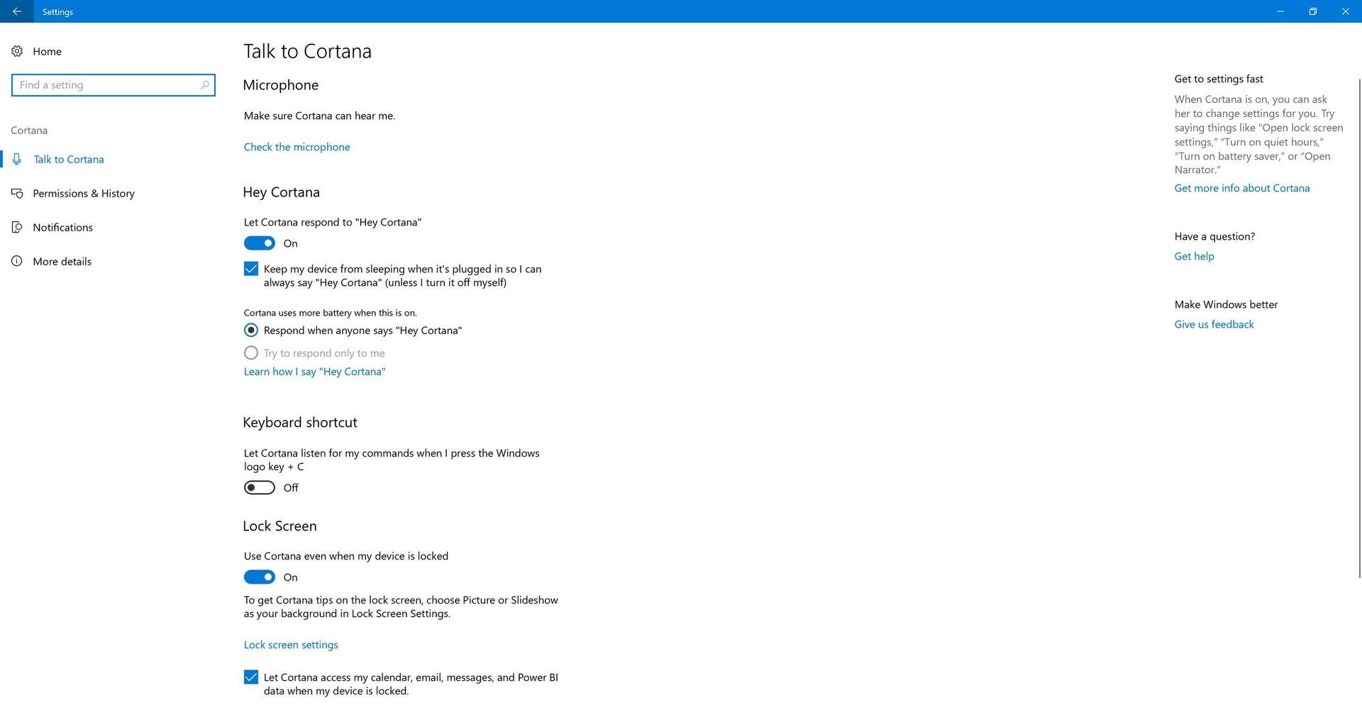 Cortana ve Windows 10 Fall Creators Update