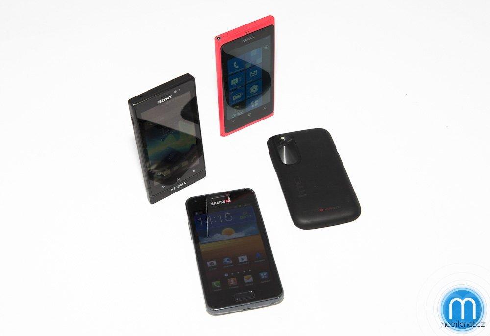 HTC Desire X vs. Sony Xperia sola vs. Nokia Lumia 800 vs. Samsung Galaxy S Advance
