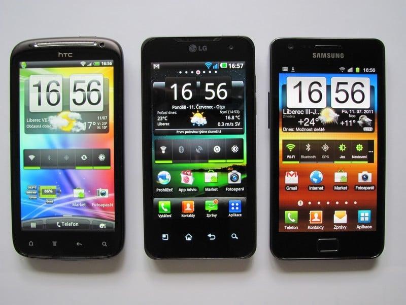 HTC Sensation, LG Optimus 2X, Samsung Galaxy S II