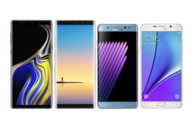 Tak jde čas. Samsung Galaxy Note9 vs. Note8, Note 7 a Note 5