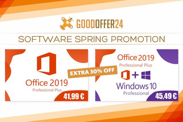 Jarní nabídka od Goodoffer24: Office 2016 Pro za 25,43 €, Windows 10 Pro za 10,26 €