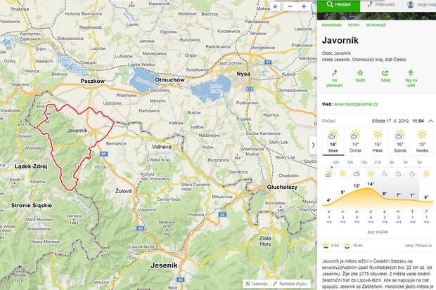 Mapy.cz rovnou prozradí, jaké počasí bude v cíli trasy, data čerpají od Windy.com