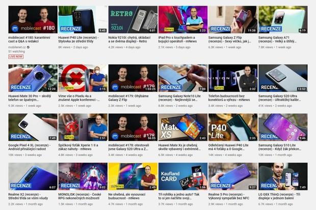 YouTube mobilenet.cz: v roce 2020 sledujete nejvíce nové Samsungy a Huawei