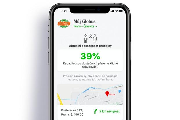 Aplikace Můj Globus nově zobrazuje aktuální volnou kapacitu každého hypermarketu