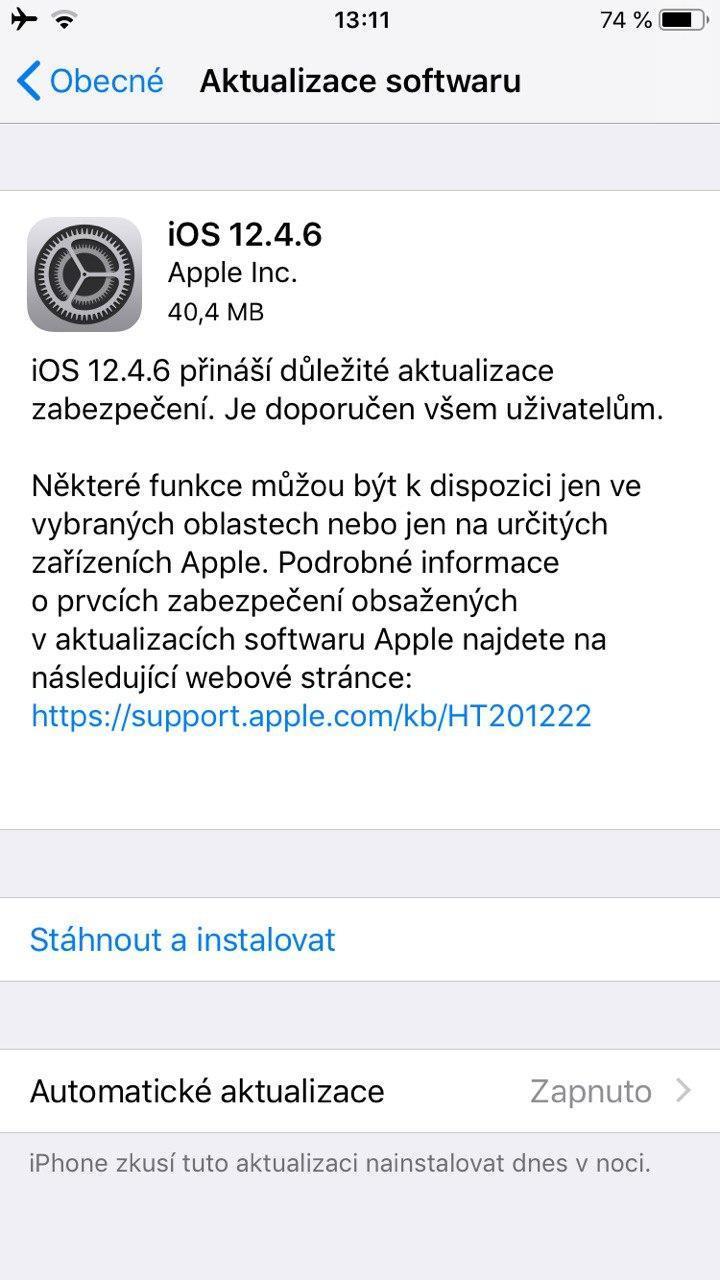 iPhone aktualizace 12.4.6