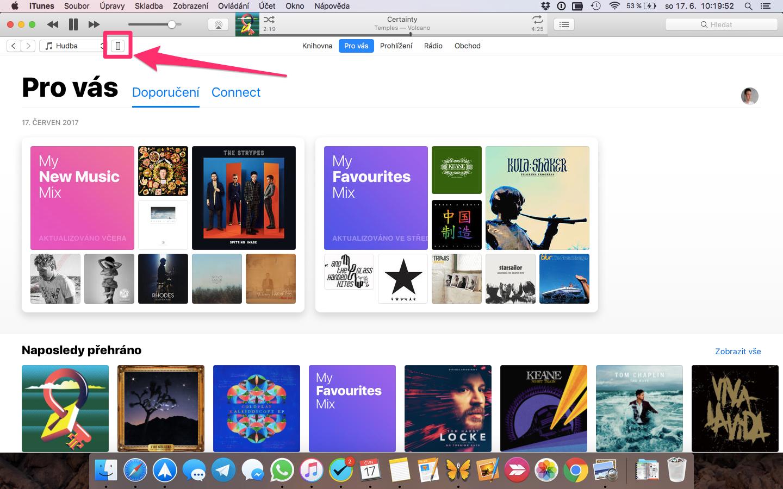 iTunes – výběr zařízení