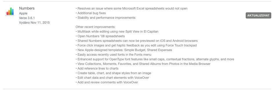 Keynote aktualizace OS X