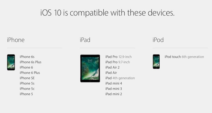 Kompatiblita iOS 10