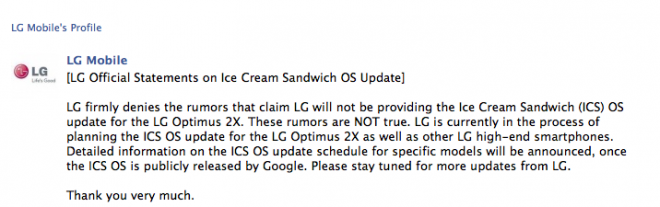 LG Optimus 2X - update na Android 4.0 ICS