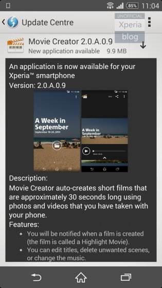 Movie Creator pro Sony Xperia Z2