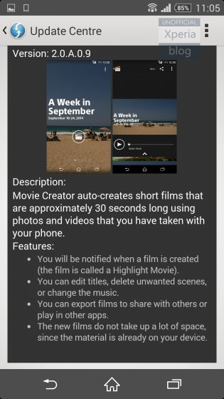 Movie Creator pro Sony Xperia Z2