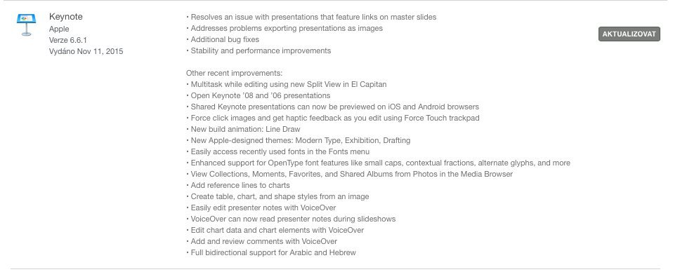 Numbers aktualizace OS X