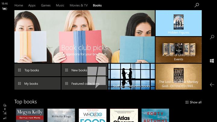 Obchod s knihami pro Windows 10