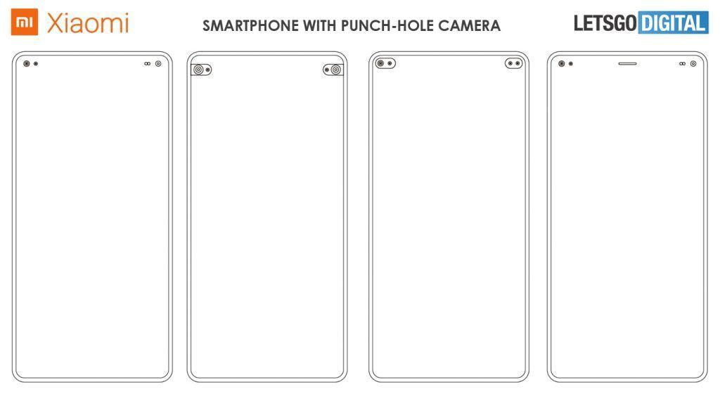 Patentový nákres výřezu telefonů Xiaomi