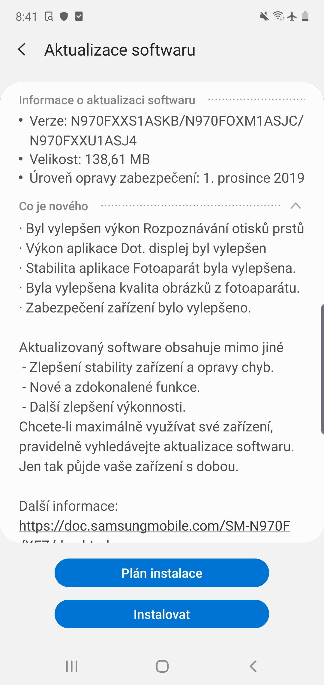 Samsung Galaxy Note10 prosincové bezpečnostní záplaty