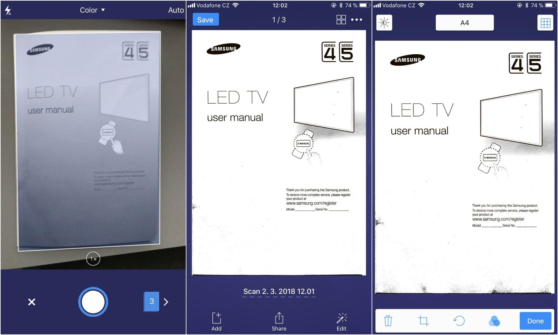 Scanner Pro a jeho uživatelské rozhraní