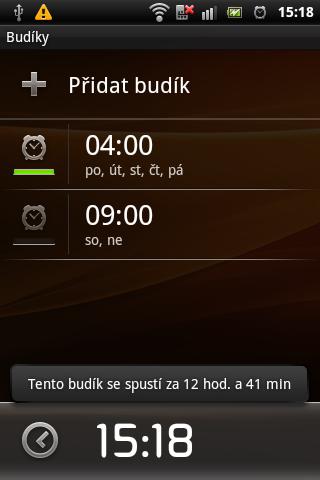 Sony Ericsson Live with Walkman - budík