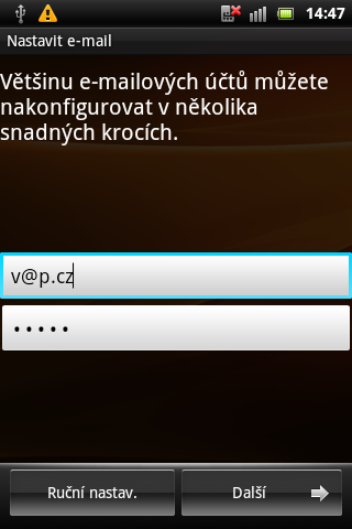 Sony Ericsson Live with Walkman - e-mailová aplikace