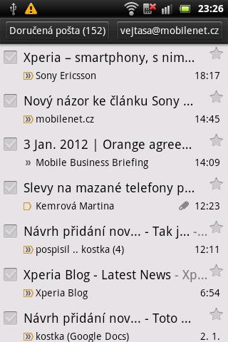 Sony Ericsson Live with Walkman - Gmail