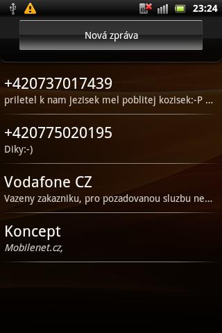 Sony Ericsson Live with Walkman - SMS zprávy