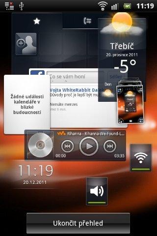Sony Ericsson Live with Walkman - srcennshoty displeje