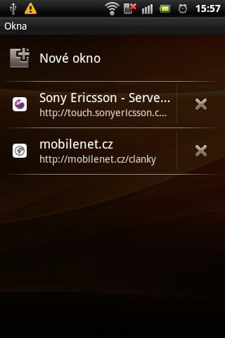 Sony Ericsson Live with Walkman - webový prohlížeč