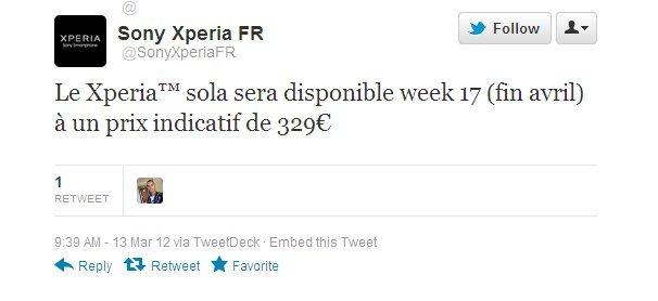 Sony Xperia Sola - dostupnost