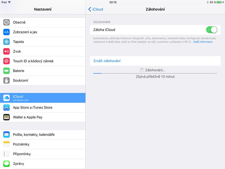 Zálohování iCloud