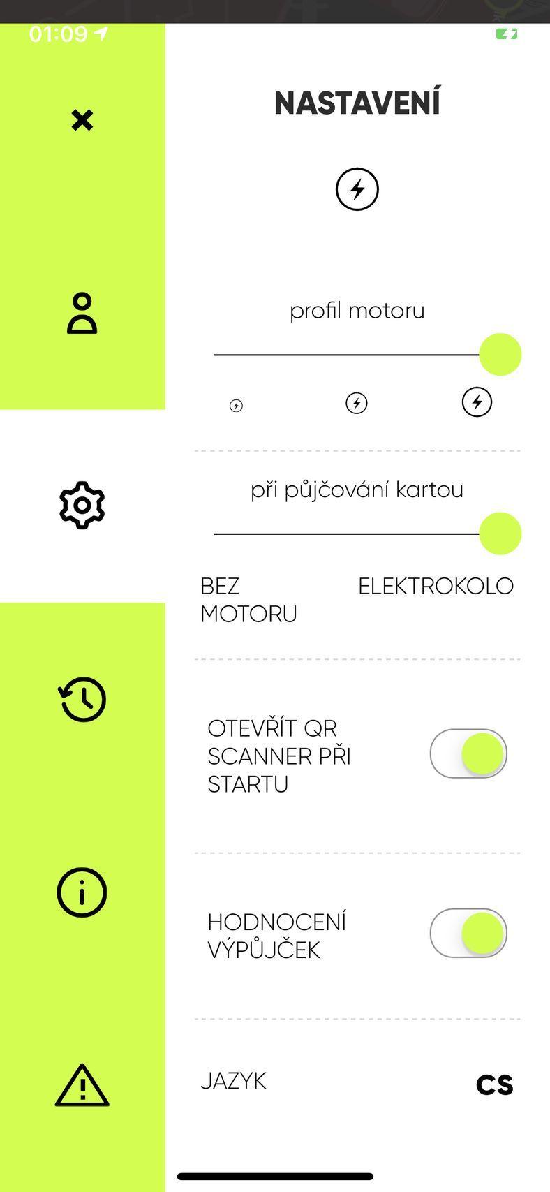 Aplikace Freebike – sdílená elektrokola