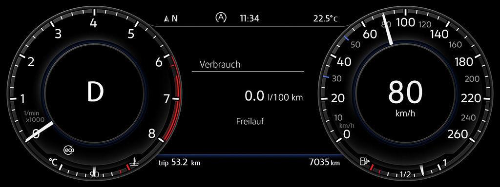 Digitální přístrojový štít Volkswagenu Golf