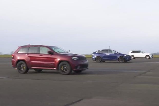 Jeep Trackhawk a GLC 63 AMG vyzvalo Teslu Model X P100D. Odolala Tesla?