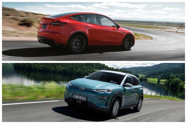 Tesla Model Y vs. Hyundai Kona Electric. Který rodinný elektromobil se vyplatí víc?
