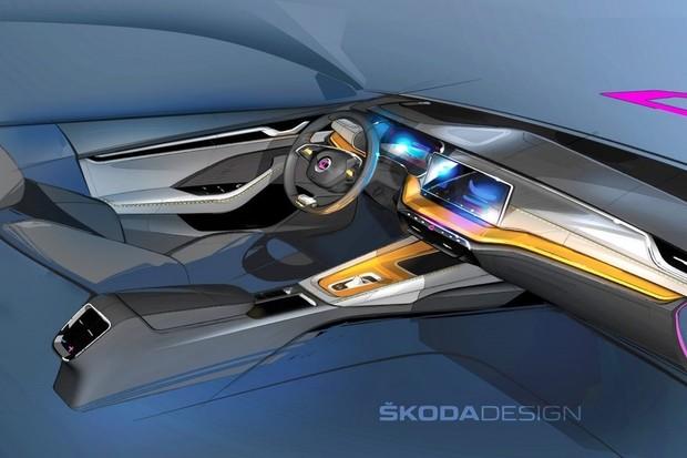 Designové skici ukazují nový koncept interiéru Škody Octavia 4. generace