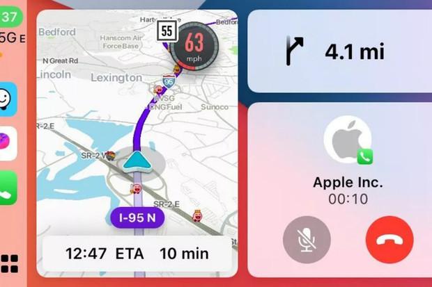 Domovská obrazovka Apple CarPlay konenčně zobrazí okno s navigací Waze