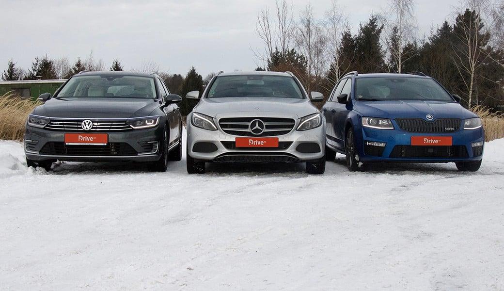 VW Passat GTE, Mercedes C 350 e Combi a Škoda Octavia RS Combi