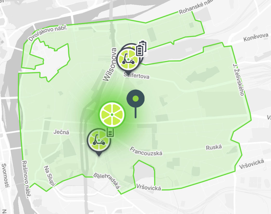 Lime – mapa provozu