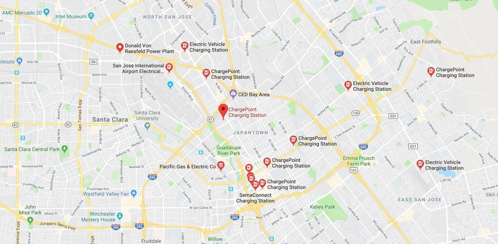 Nabíjecí stanice v Google mapách