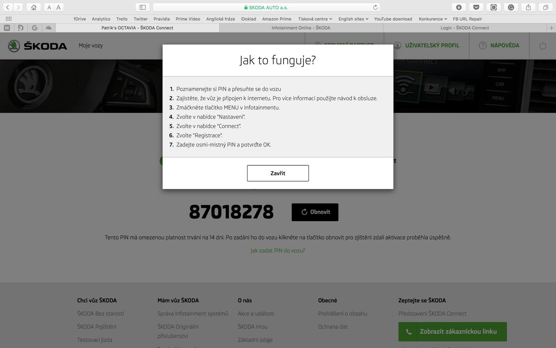 Škoda Connect webové rozhraní