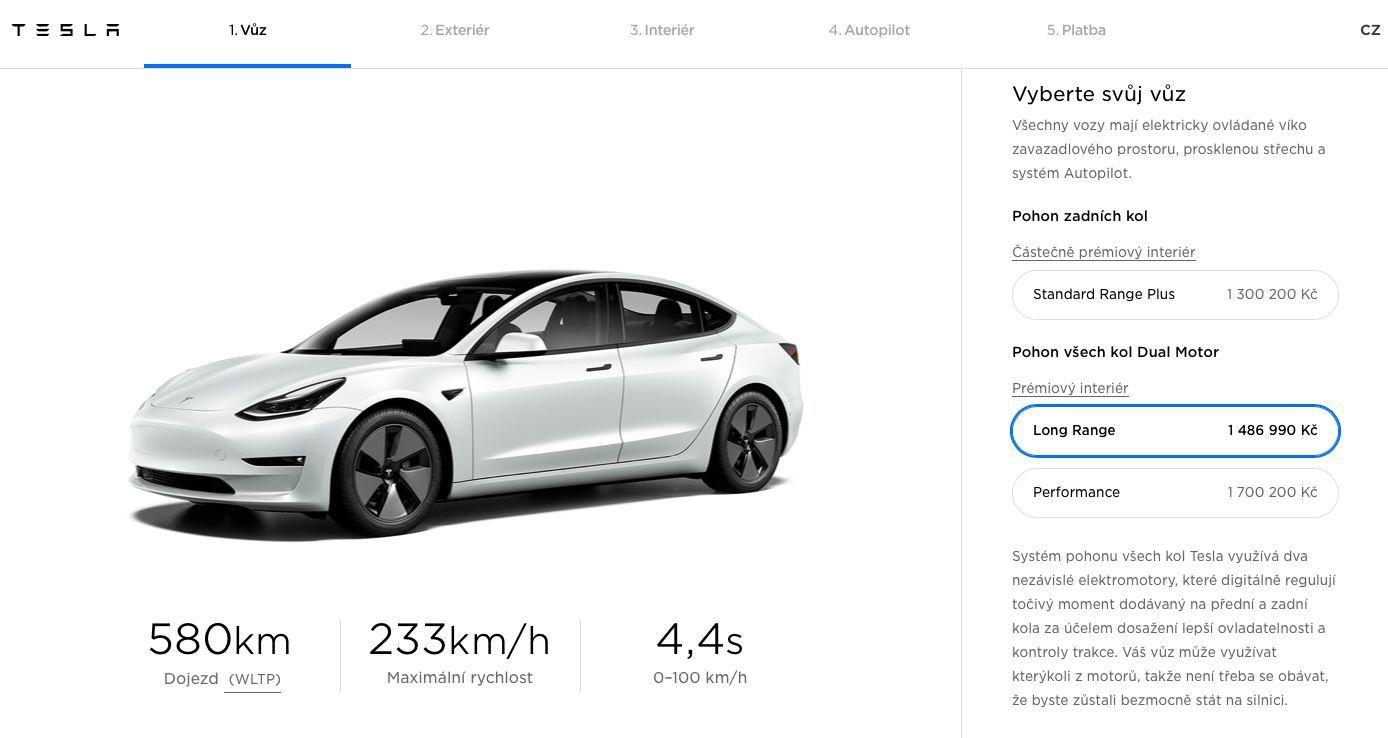Tesla Model 3 v konfigurátoru
