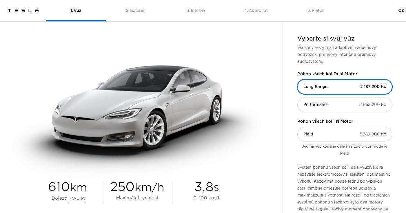Tesla Model S, ceny v Česku