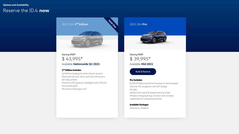 Volkswagen ID.4, nabídka v USA